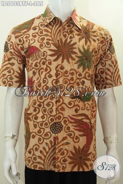 Pakaian Batik Cowok Motif Klasik Elegan Dan Mewah, Hem Batik Kombinasi Tulis Lengan Pendek Pake Furing Pria Terlihat Gagah Dan Tampan, Size L