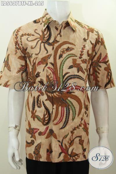 Hem Batik Elegan Motif Bagus Kwalitas Halus, Busana Batik Full Furing Lengan Pendek Kombinasi Tulis Modis Buat Kondangan, Size XL
