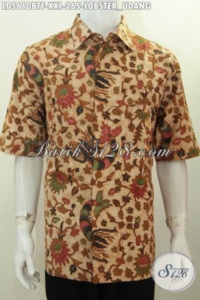 Kemeja Batik Untuk Pria Gemuk, Produk Baju Batik Motif Udang Lobster Kwalitas Bagus Size XXL, Berbahan Adem Proses Kombinasi Tulis Harga 200 Ribuan