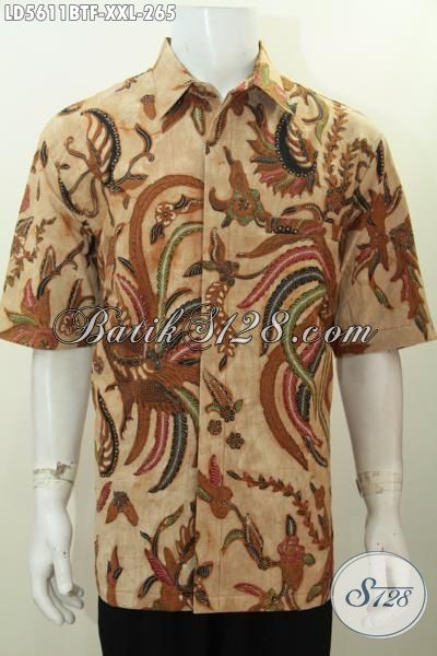 Baju Kerja Batik Untuk Lelaki Gemuk, Produk Busana Batik Jawa Elegan Kombinasi Tulis Kwalitas Bagus Daleman Pake Furing Untuk Penampilan Lebih Gaya, Size XXL
