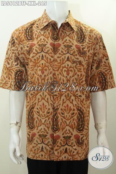 Baju Batik Pria Gemuk, Hem Batik Jumbo Ukuran 3L, Produk Baju Kerja Batik Elegan Motif Unik Proses Kombinasi Tulis Model Lengan Pendek Pake Furing, Size XXL