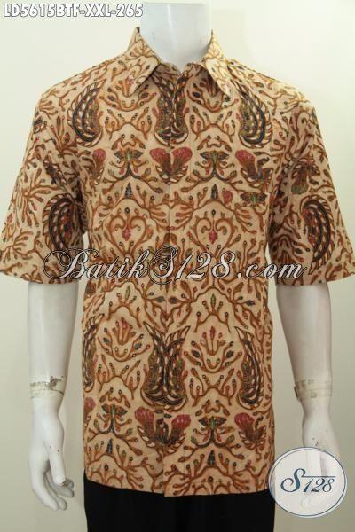 Baju Kemeja Batik Elegan Buatan Solo Jawa Tengah, Busana Batik Halus Full Furing Motif Trendy Proses Kombinasi Tulis, Size XXL