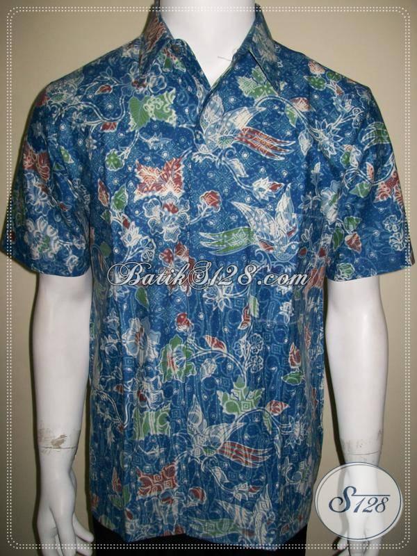 Jual Baju Batik Pria Murah Warna Biru Tidak Luntur
