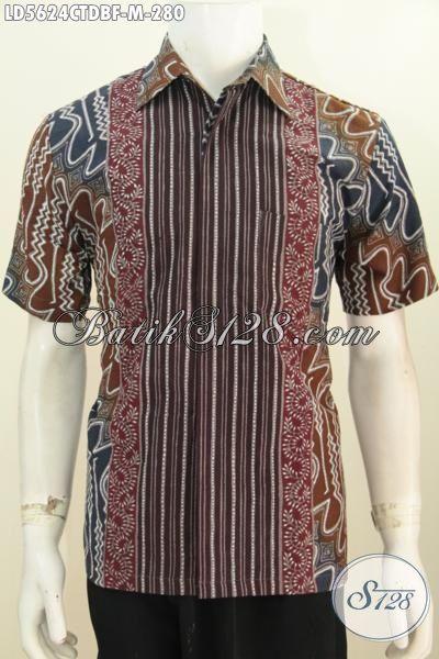 Jual Kemeja Batik Pake Furing Model Lengan Pendek, Baju Batik Lelaki Motif Bagus Proses Cap Tulis Harga Terjangkau [LD5624CTDBF-M]