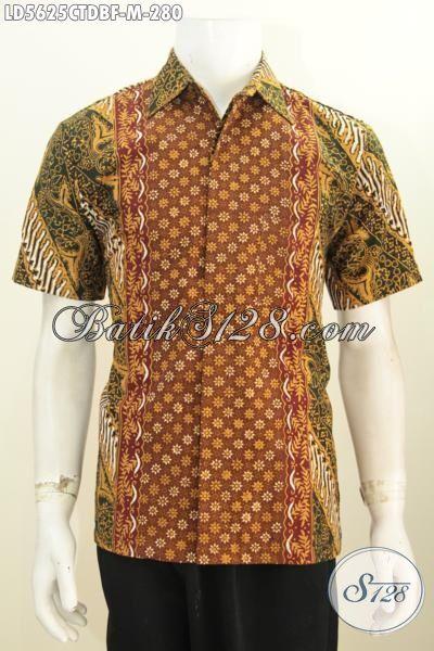 Pakaian Batik Lelaki Model Lengan Pendek Motif Bagus Berbahan Dolby, Baju Kerja Batik Desain Bagus Proses Cap Tulis Di Jual Online Harga 280K, Size M