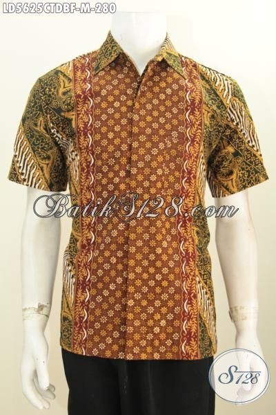 Pakaian Batik Kerja Cowok Ukuran M, Hem Batik Lengan Pendek Full Furing Berbahan Dolby Dengan Motif Elegan Proses Cap Tulis Harga 200 Ribuan [LD5625CTDBF-M]