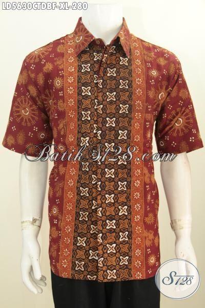 Hem Batik Pria Dewasa Berbahan Doby Kwalitas Halus Dan Adem, Pakaian Batik Lengan Pendek Full Furing Dari Solo Dijual Online Harga Grosir, Size XL