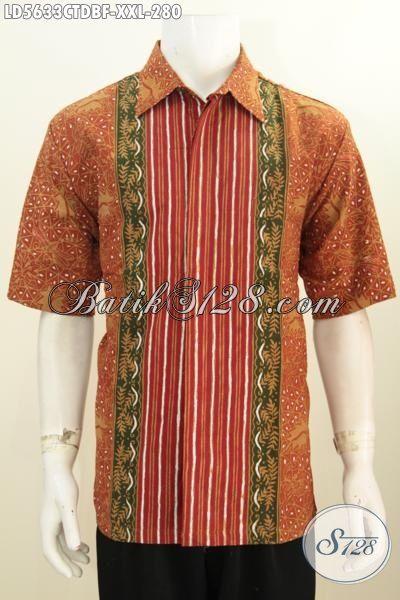 Baju Batik Cowok 3L, Pakaian Batik Elegan Motif Terbaru Lebih Modis Dan Keren, Busana Batik Bahan Dolby Full Furing Eksklusif Buat Lelaki Gemuk, Size XXL