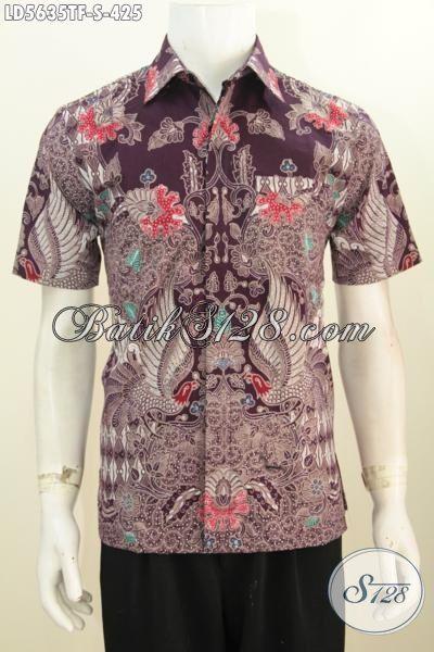 Produk Pakaian Batik Istiewa Untuk Pria Muda, Baju Batik Elegan Mewah Harga 400 Ribuan Model Lengan Pendek Pake Furing Prose Tulis Tangan Asli, Tampil Makin Percaya Diri, Size S