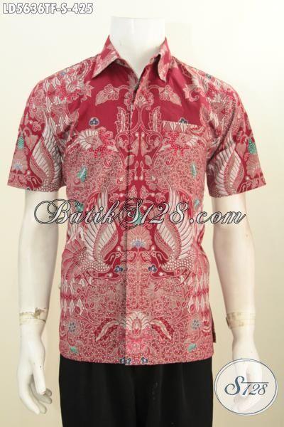 Kemeja Batik Tulis Warna Merah Motif Bagus Dan Berkelas, Pakaian Batik Lelaki Muda Size S Daleman Full Furing Model Lengan Pendek Cocok Buat Kerja Kantoran