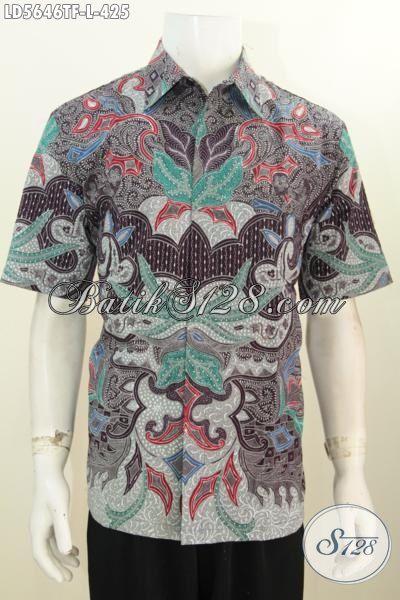 Hem Batik Modis Kwalitas Istimewa Trend Terkini, Baju Batik Halus Proses Tulis Tangan Premium Model Lengan Pendek Full Furing Untuk Pria Terlihat Modis Dan  Berwibawa [LD5646TF-L]