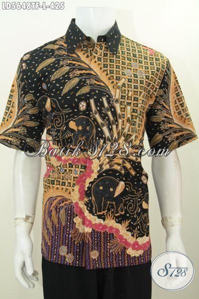Pakaian Batik Istimewa Motif Mewah Proses Tulis, Baju Batik Lengan Pendek Premium Buatan Solo Untuk Pria Terlihat Mempesona, Size L