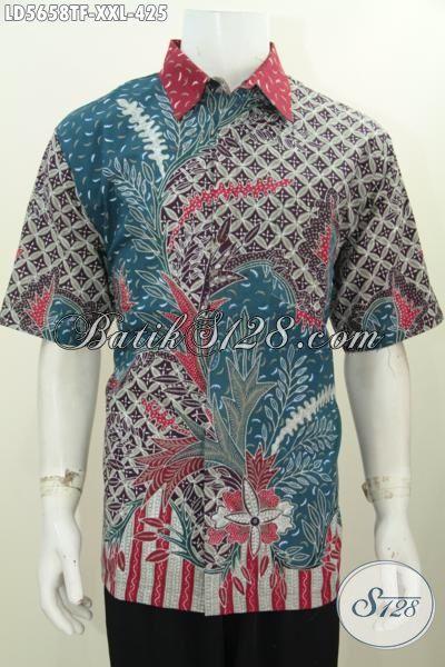 Hem Batik 3L Model Lengan Pendek Spesial Untuk Pria Gemuk, Baju Batik Tulis Premium Buatan Solo Dengan Daleman Full Furing Untuk Penampilan Gagah Dan Tampan, Size XXL