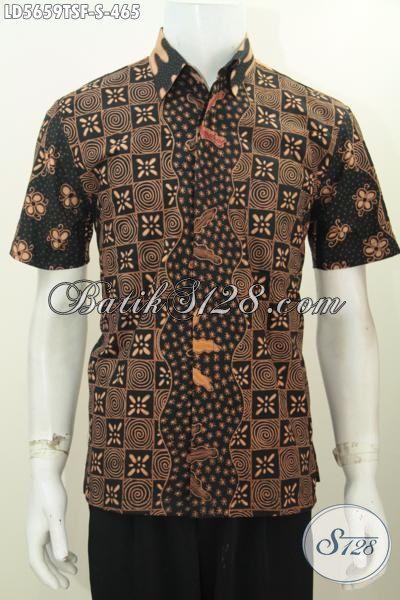 Jual Online Hem Batik Ukuran S, Baju Batik Lengan Pendek Premium Proses Tulis Soga Asli Buatan Solo Daleman Pake Furing Lebih Mewah Dan Berkelas