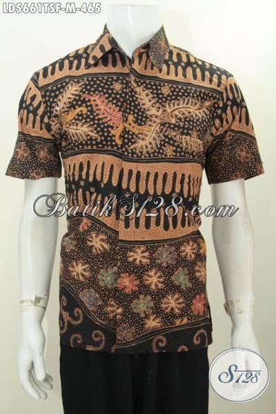 Baju Batik Lengan Pendek 400 Ribuan, Hem Batik Full Furing Motif Mewah Proses Tulis Soga Asli Solo Jawa Tengah Elegan Untuk Seragam Kerja [LD5661TSF-M]