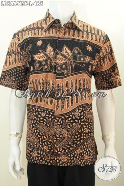 Baju Batik Lengan Pendek Modis Dan Mewah, Seragam Kerja Batik Proses Tulis Soga Mewah Daleman Full Furing Yang bikin Pria Terlihat Tampan Maksimal, Size L