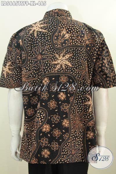 Kemeja Batik Premium Motif Mewah Proses Tulis Soga, Baju Batik Jawa Tengah Lengan Pendek Pake Furing Pria Tampil Modis Dan Gaya [LD5665TSF-XL]