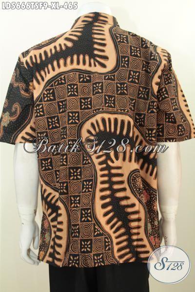 Baju Batik Modis Dan Halus Motif Mewah Proses Tulis Soga, Kemeja Batik Jawa Trend Masa Kini Kwalitas Mewah Harga 400 Ribuan Daleman Pake Furing [LD5666TSF-XL]