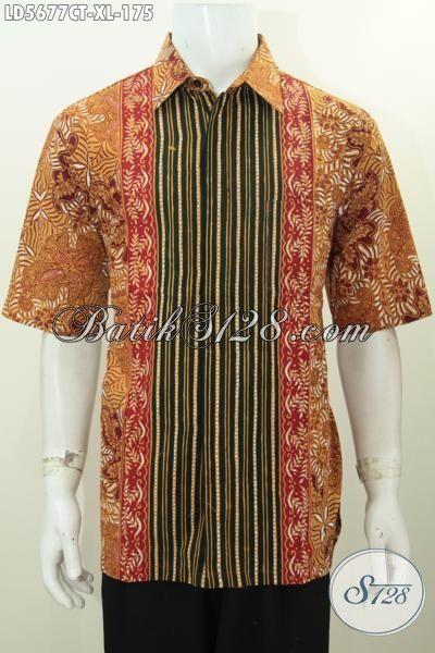 Jual Pakaian Batik Cowok Motif Kombinasi, Busana Batik Trendy Proses Cap Tulis Ukuran XL Modis Buat Hangout Dan Jalan-Jalan