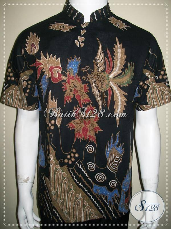 Baju Batik Santai, Kemeja Pria Motif Modern Kontemporer Hitam [LD568T-M]