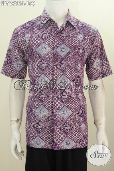 Baju Batik Hem Lengan Pendek Keren Untuk Anak Muda, Pakaian Batik Modis Motif Gaul Proses Cap Trendy Untuk Hangout, Size M