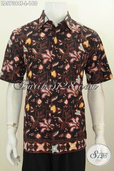 Hem Batik Cap Tulis Motif Bagus Kwalitas Istimewa, Busana Batik Keren Model Lengan Pendek Cocok Untuk Santai, Size L