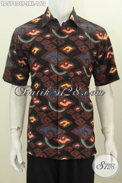 Busana Batik Cowok Motif Terbaru Model Lengan Pendek, Kemeja Batik Trendy Desain Motif Gaul Proses Cap Tulis Cocok Banget Untuk Hangout, Size L – XL