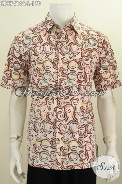 Jual Online Pakaian Batik Hem Lengan Pendek Modis Motif Keren, Baju Kemeja Batik Cap Warna Alam Yang Modis Buat Seragam kerja Dan Baju Pesta [LD5741CA-L]