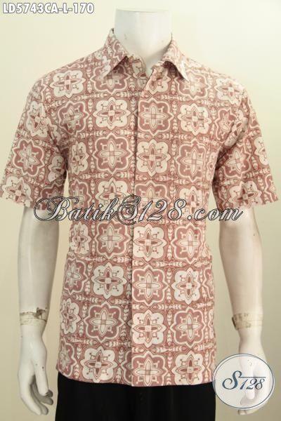 Jual Kemeja Batik Warna Pastel Motif Keren Abis, Hem Batik Lengan Pendek Halus Proses Cap Warna Alam Untuk Penampilan Lebih Elegan [LD5743CA-L]