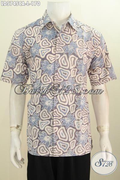 Baju Kemeja Warna Kalem Proses Cap Warna Alam, Pakaian Batik Cowok Lengan Pendek Ukuran L Modis Untuk Jalan-Jalan [LD5745CA-L]