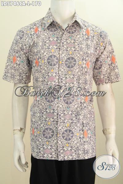 Kemeja Batik Cap Warna Alami, Pakaian Batik Motif Unik Warna Pastel Kwalitas Bagus Harga 170K, Size L