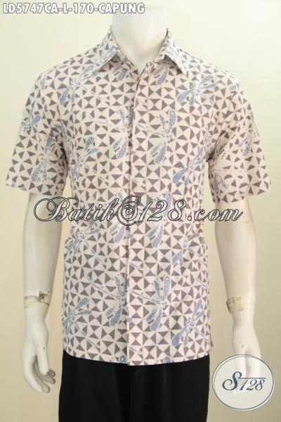 Baju Hem Batik Modis Kwalitas Halus, Kemeja Batik Lengan Pendek Motif Capung Proses Cap Warna Alam Lebih Lembut Dan Soft [LD5747CA-M]