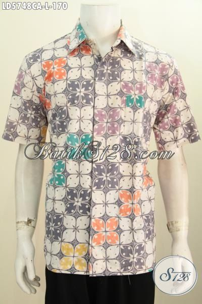 Baju Batik Pria Motif Terbaru Trend Masa Kini, Pakaian Batik Halus Proses Cap Warna Alam Desain Keren Model Lengan Pendek, Untuk Tampil Lebih Bergaya, Size L