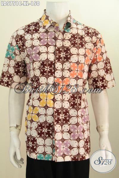 Baju Hem Batik Motif Elegan Dengan Perpaduan Warna Keren Yang Bikin Pria Terlihat Istimewa, Baju Batik Proses Cap Model Lengan Pendek Size XL Harga 150K