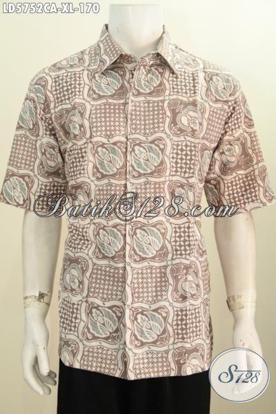 Kemeja Batik Warna Pastel Kwalitas Bagus Asli Buatan Solo, Produk Hem Batik Lengan Pendek Istimewa Berbahan Halus Motif Unik Untuk Tampil Keren Dan Trendy, Size XL