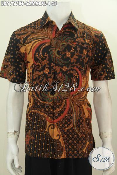 Baju Batik Solo Klasik Nan Mewah Berbahan Halus Motif Berkelas Proses Kombinasi Tulis, Baju Batik Seragam Kerja Pria Muda Dan Dewasa Untuk Penampilan Lebih Berwibawa, Size S – XL