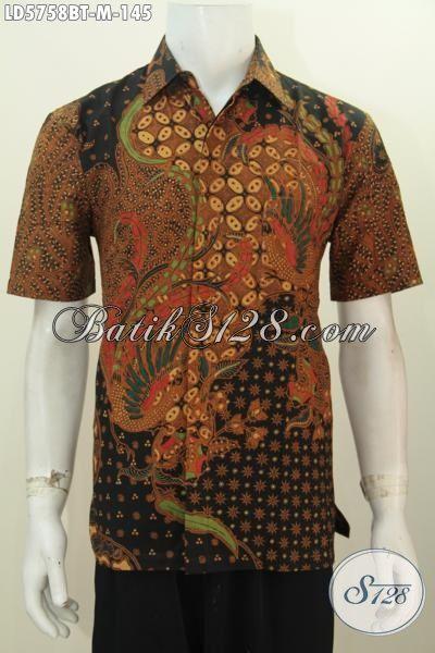 Hem Batik Kombinasi Tulis Tampil Elegan, Baju Batik Cowok Lengan Pendek Istimewa Bahan Adem Nyaman Di Pakai, Size M