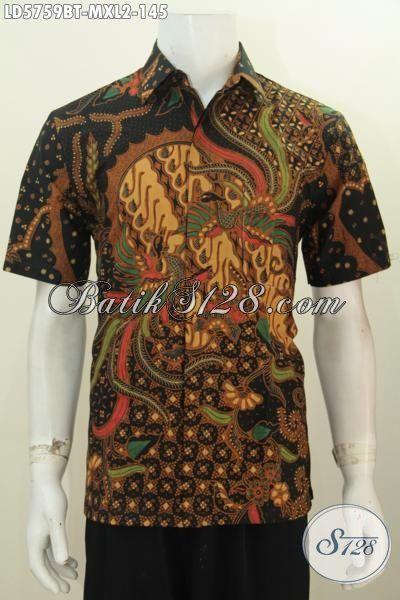 Kemeja Batik Keren Warna Klasik Nan Mewah, Pakaian Batik Cowok Model Lengan Pendek Proses Kombinasi Tulis Untuk Penampilan Lebih Gagah [LD5759BT-XL]