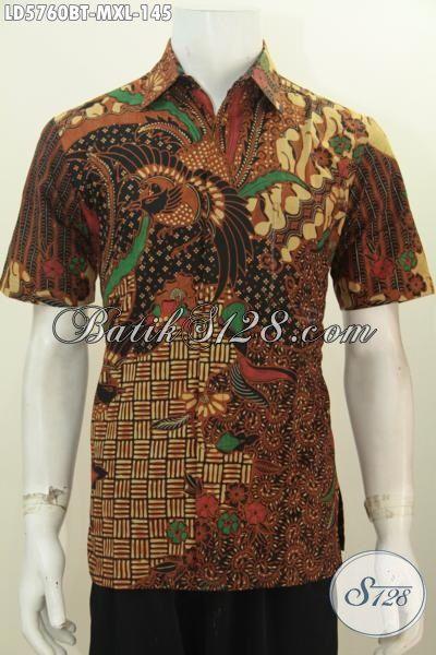 Produk Pakaian Batik Lengan Pendek Lelaki Masa Kini, Busana Batik Modis Istimewa Berbahan Adem Motif Berkelas Proses Kombinasi Tulis, Size M – XL