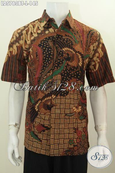 Jual Kemeja Batik Lengan Pendek Motif Bagus Banget, Baju Kerja Kwalitas Bagus Berbahan Adem Untuk Pria Tampil Makin Berwibawa [LD5763BT-L]