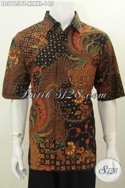 Hem Batik Lengan Pendek Lelaki Gemuk, Produk Baju Batik ELegan Kombinasi Tulis Motif Klasik Bikin Penampilan Lebih Mempesona, Size XXL