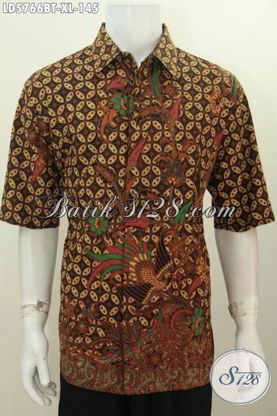 Baju Hem Batik Ukuran XL, Pakaian Batik Elegan Motif Klasik Kombinasi Tulis, Pakaian Batik Halus Istimewa Buatan Solo Untuk Seragam Kerja Kantoran