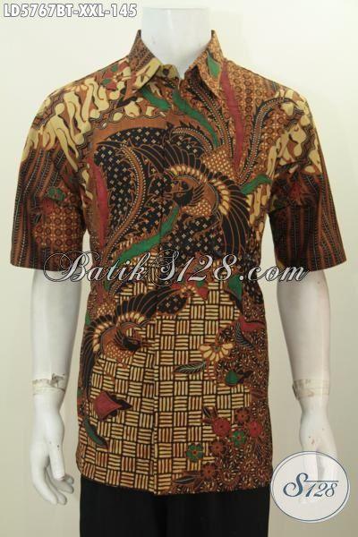 Hem Batik Jumbo Motif Mewah Proses Kombinasi Tulis, Baju Batik Lengan Pendek Pria Gemuk Khas Jawa TengahnHarga 145K, Size XXL
