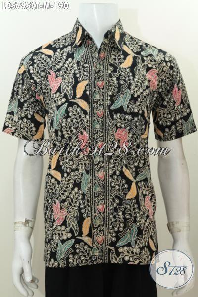 Baju Hem Lengan Pendek Halus Motif Unik Dasar Hitam Nan Elegan, Pakaian Batik Istimewa Proses Cap Tulis Di Jual Online Harga 190K, Size M