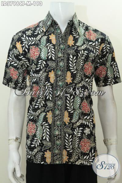 Hem Batik Cap Tulis Lengan Pendek Motif Bunga Dasar Hitam, Pakaian Batik Istimewa Bahan Halus Desain Modis Cocok Buata Gaul, Size M