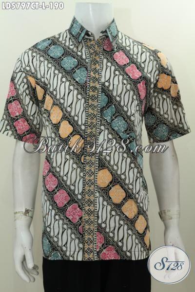 Hem Batik Elegan Motif Parang Kwalitas Bagus Dengan Kombinasi Warna Trendy, Baju Batik Solo Cap Tulis Size L Modis Buat Seragam Kerja Istimewa