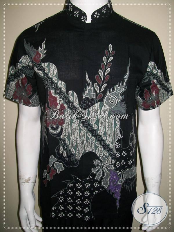 Baju Batik Kerah Shanghai Pria Warna Hitam Dijual Online Harga Murah Terjangkau [LD579T-M]