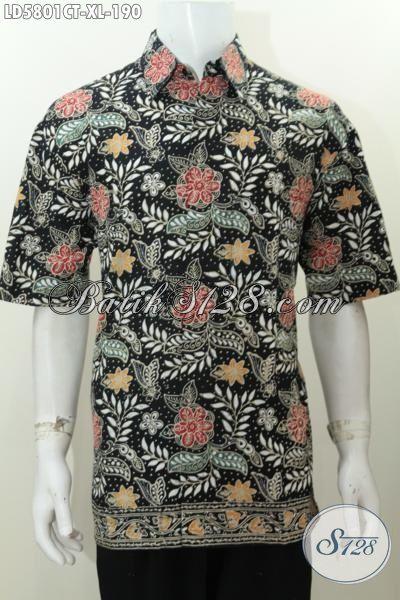 Baju Batik Pria dewasa Motif Bunga Berpadu Dasar Hitam Yang Lebih Modis, Baju Batik Keren Proses Cap Tulis Size XL Cocok Buata Pesta Dan Acara Santai [LD5801CT-XL]