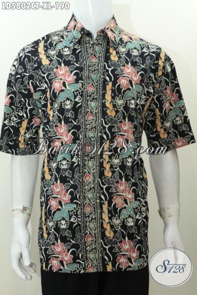 Sedia Pakaian Hem Batik Motif Bunga Model Terbaru Yang Lebih Keren, Baju Batik Halus Lengan Pendek Proses Cap Tulis Untuk Penampilan Makin Trendy Istimewa, Size XL
