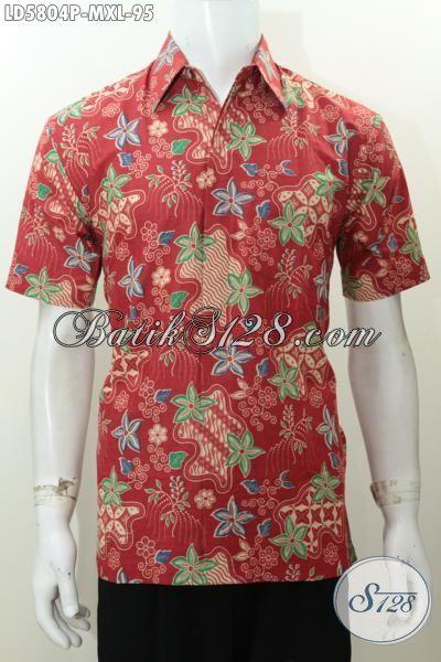 Hem Batik Printing Keren Warna Merah Motif Bunga, Baju Batik Lengan Pendek Kwalitas Halus Bikin Pria Tampil Tampan Hanya Dengan 95K, Size M – XL